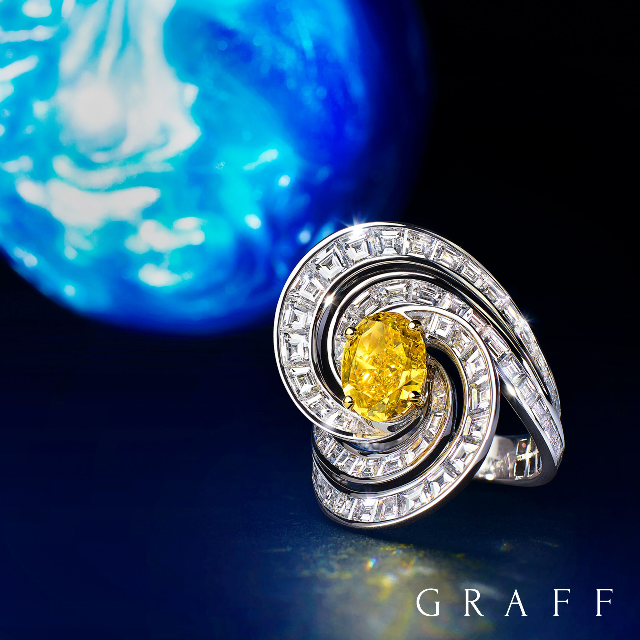 white pear ring and halo raidant collections high cut diamond of jewellery scintillation ct graff intense yellow featuring radiant a fancy fiy