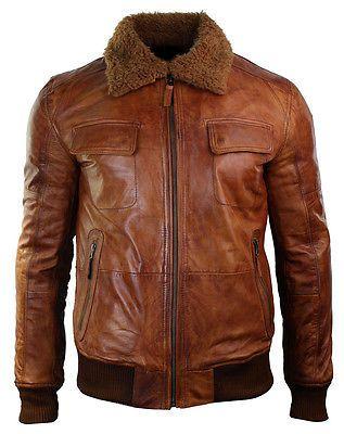 953464abf24 Mens B3 Bomber Rust Tan Brown Removable Fur Collar aviator Pilot Leather  jacket