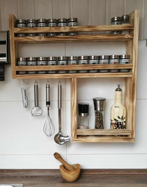 Spice Shelf In Old Wood With Lots Of Space Dimensions Ca Height 60 Cm Width 59 Cm Depth 10 Cm Incl 4 Hooks Without In 2020 Diy Mobel Holz Kuche Holz Gewurzregal