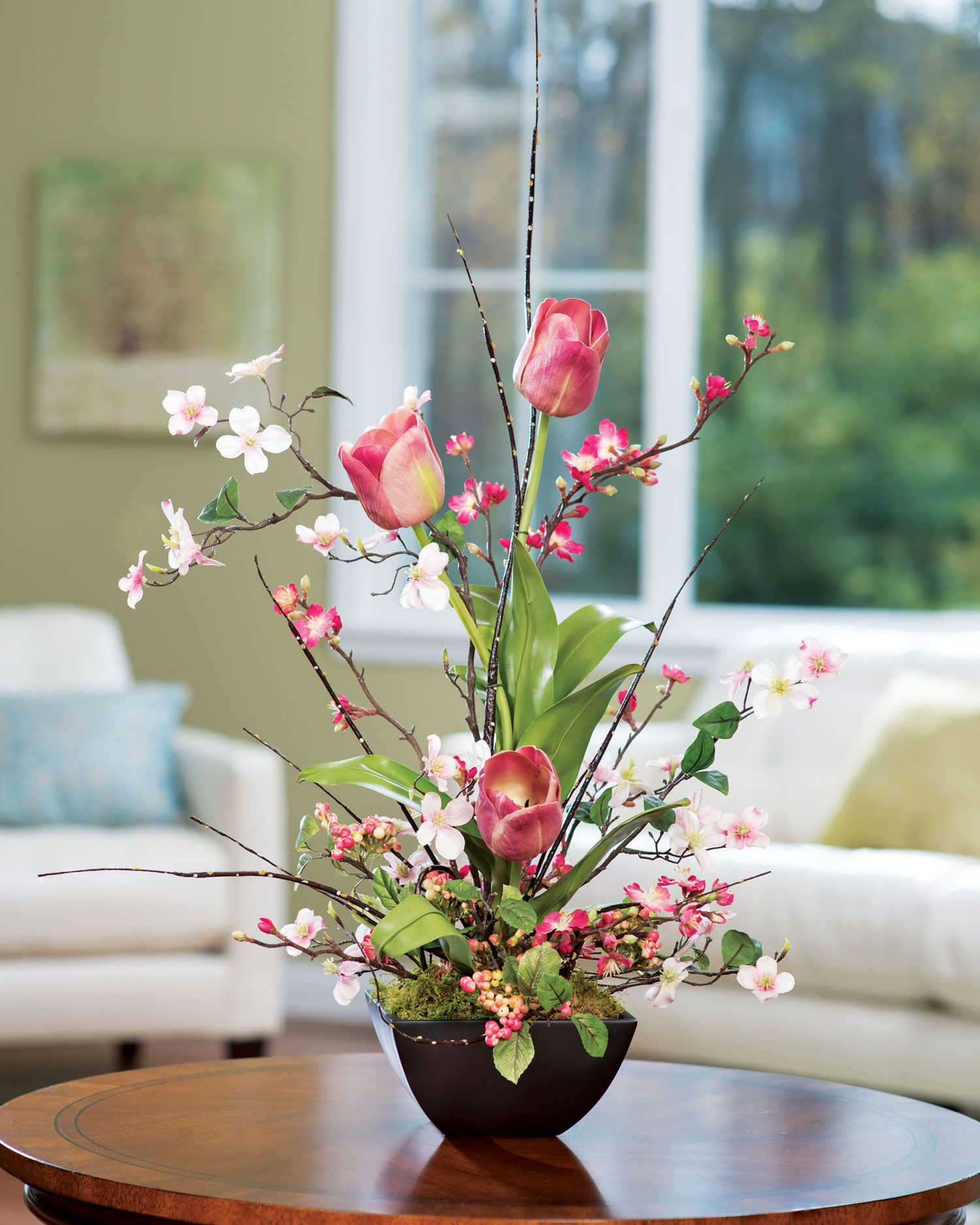 Cherry Blossom Dogwood & Tulip Silk Flower Arrangement Item Number