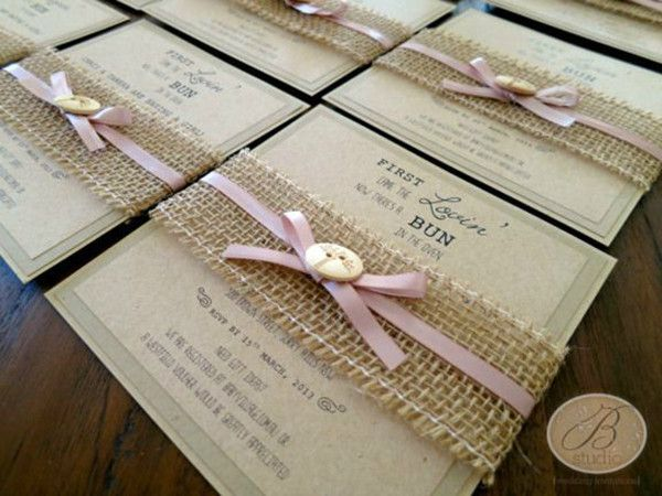 diy burlap wedding invitations. rustic romance- baby shower invitations but with a plaid ribbon over the burlap :) diy wedding