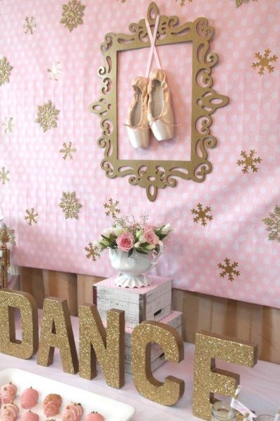 Ballerina birthday party decoration ideas for backdrop stage