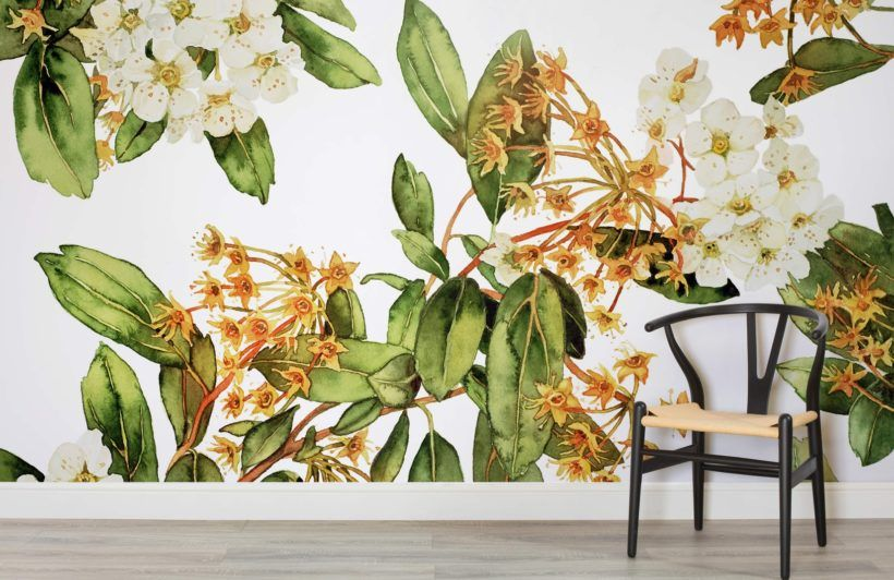 Painted White Flowers Wall Mural | MuralsWallpaper.co.uk Part 45