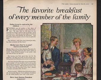 Original Ladies Home Journal print for Aunt Jemima Pancake Flour 1919 - F&B129