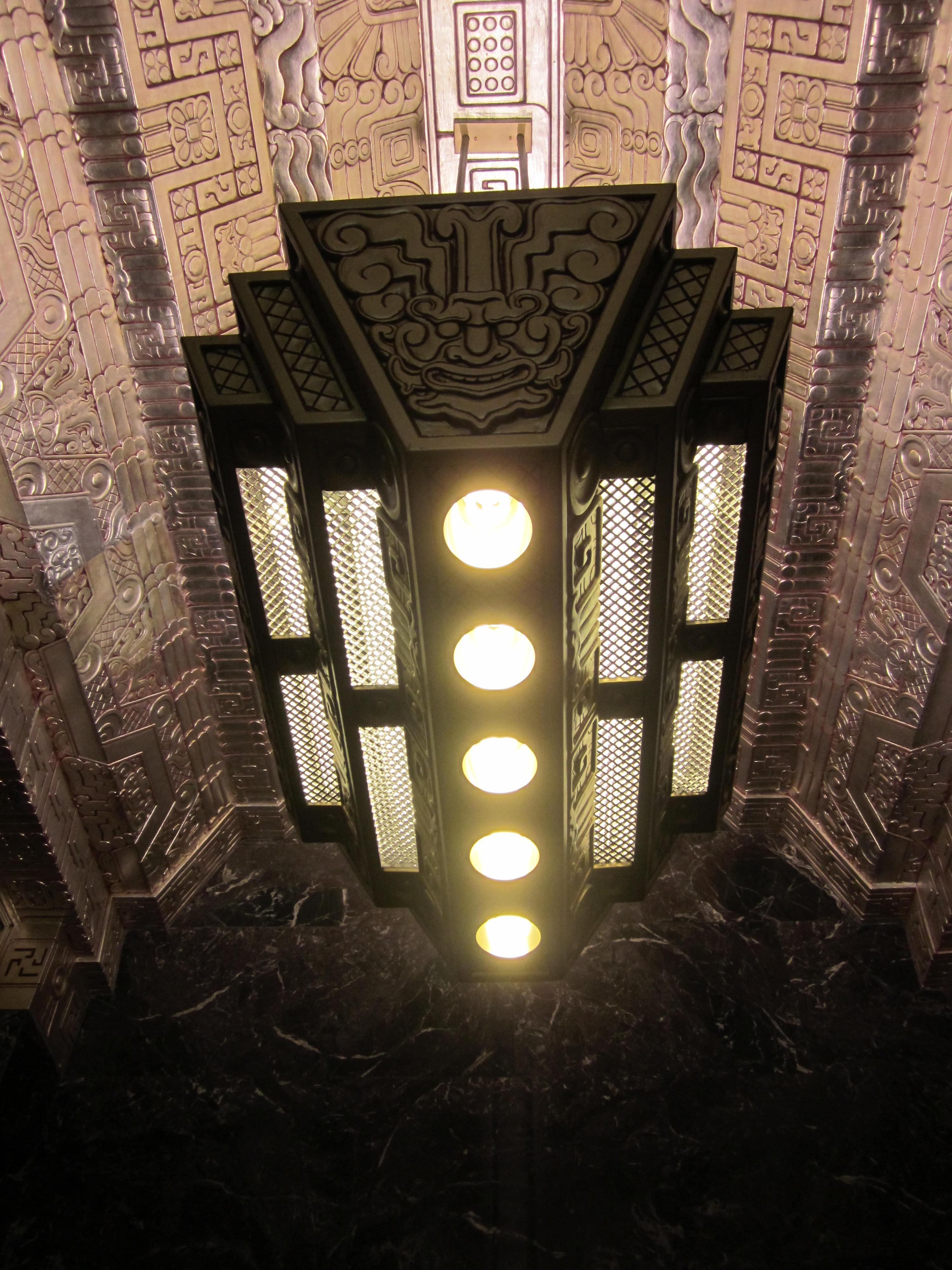 450 sutter st lobby lights mayan revival art deco for Neo art deco interior design