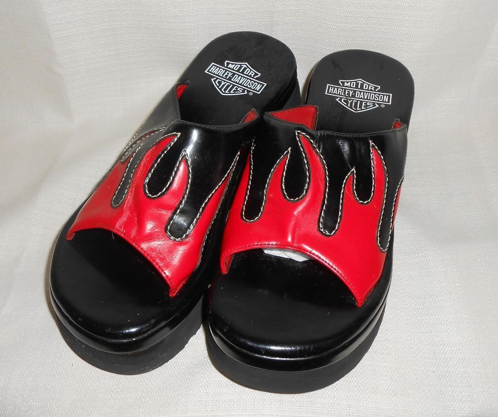 4a17d84e2802 HARLEY DAVIDSON Platform Sandals Women Sz 7M Slip-on Black Red Flames 2.5