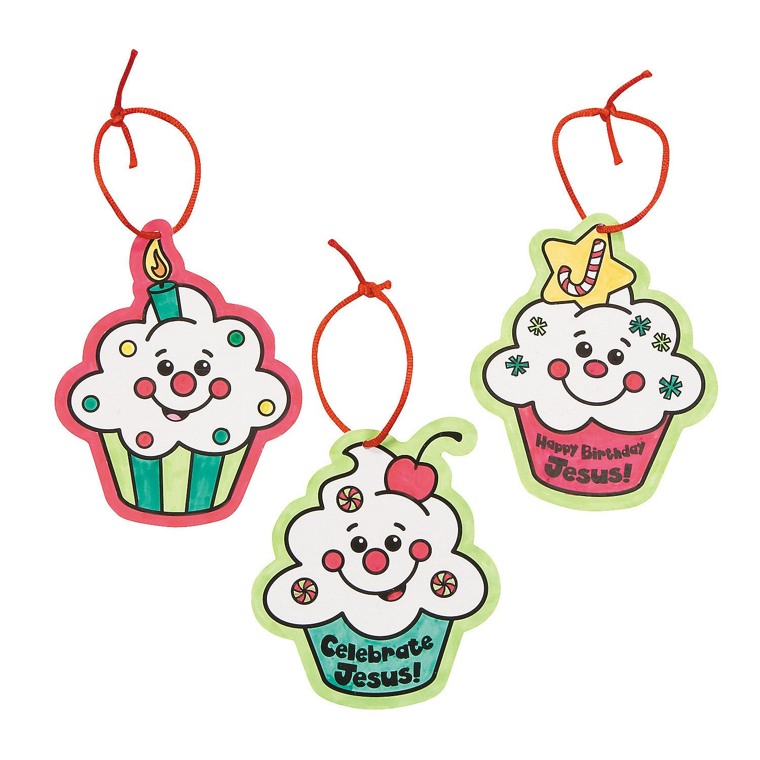 """Color Your Own """"Happy Birthday Jesus!"""" Cupcake Ornaments ..."""