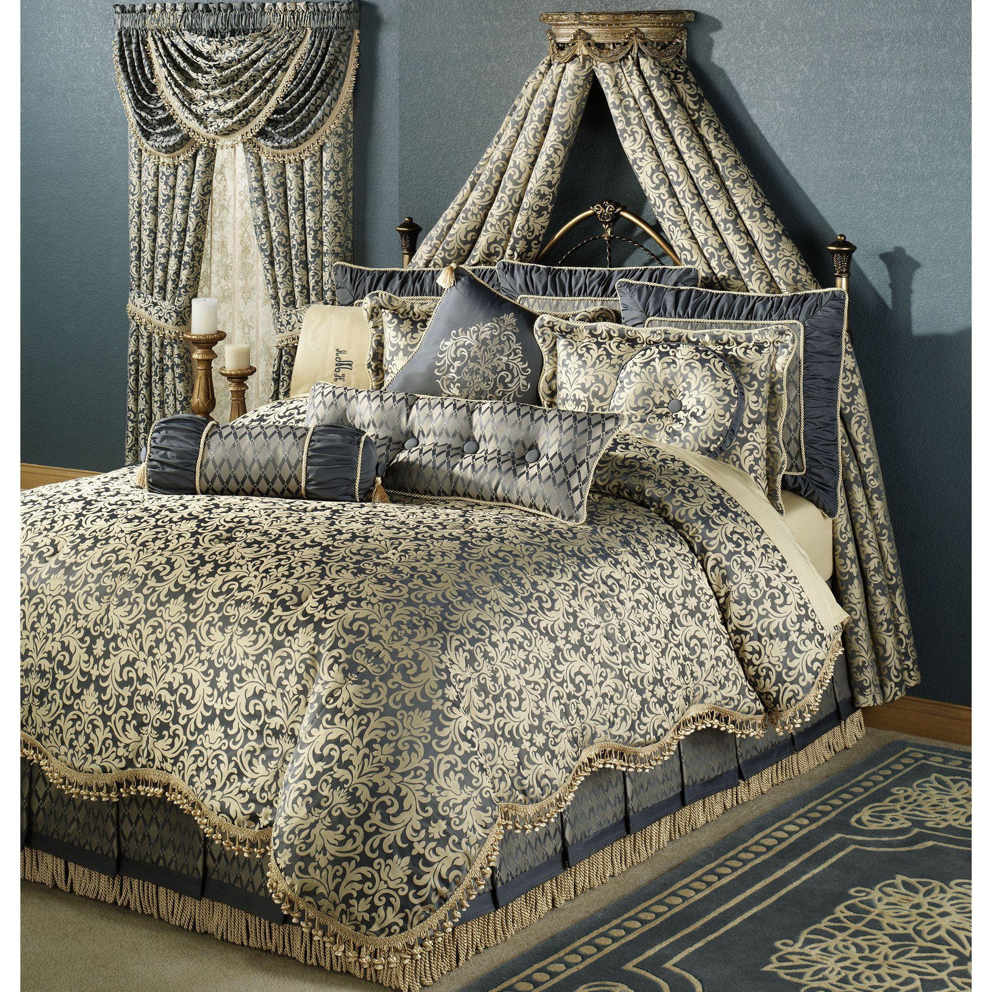 Sterling Damask Comforter Set Steel Blue Master Bedroom - Blue and brown damask comforter
