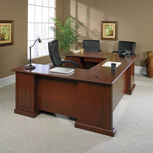 Sauder Office Furniture Heritage Hill Collection Clic Cherry Laminate Finish Executive U Desk