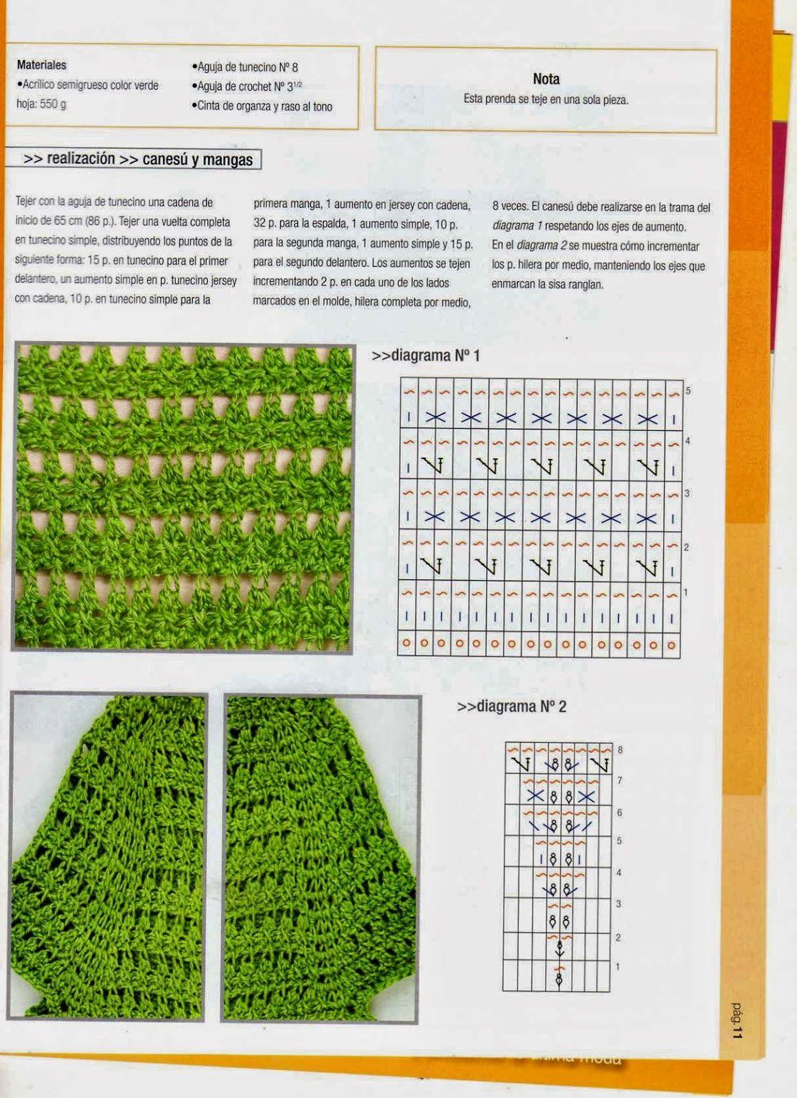 GRÁFICOS DE TEJIDOS.: CROCHET TUNECINO   Tejer   Pinterest   Crochet ...