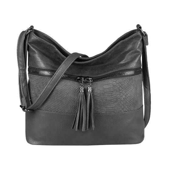 OBC Damen Tasche Shopper Crossbody Schultertasche Umhängetasche Leder Optik Crossover Henkeltasche Beuteltasche Handtasche Grau #bag