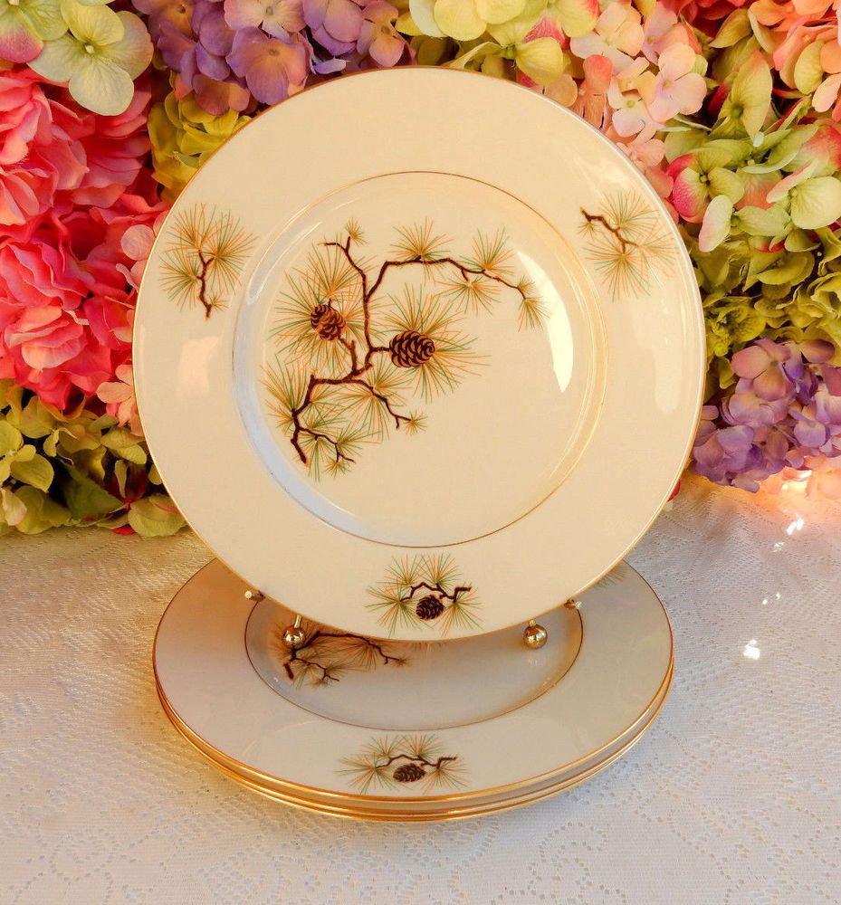 4 Beautiful Lenox China Dinner Plates ~ Pine Cone ~ Gold ~ W-331 # & 4 Beautiful Lenox China Dinner Plates ~ Pine Cone ~ Gold ~ W-331 ...
