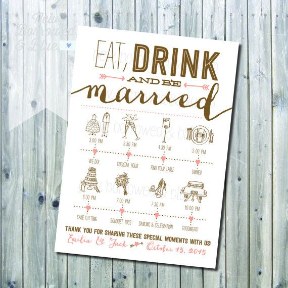 Eat Drink And Be Married Wedding Invitation   With The Rundown!