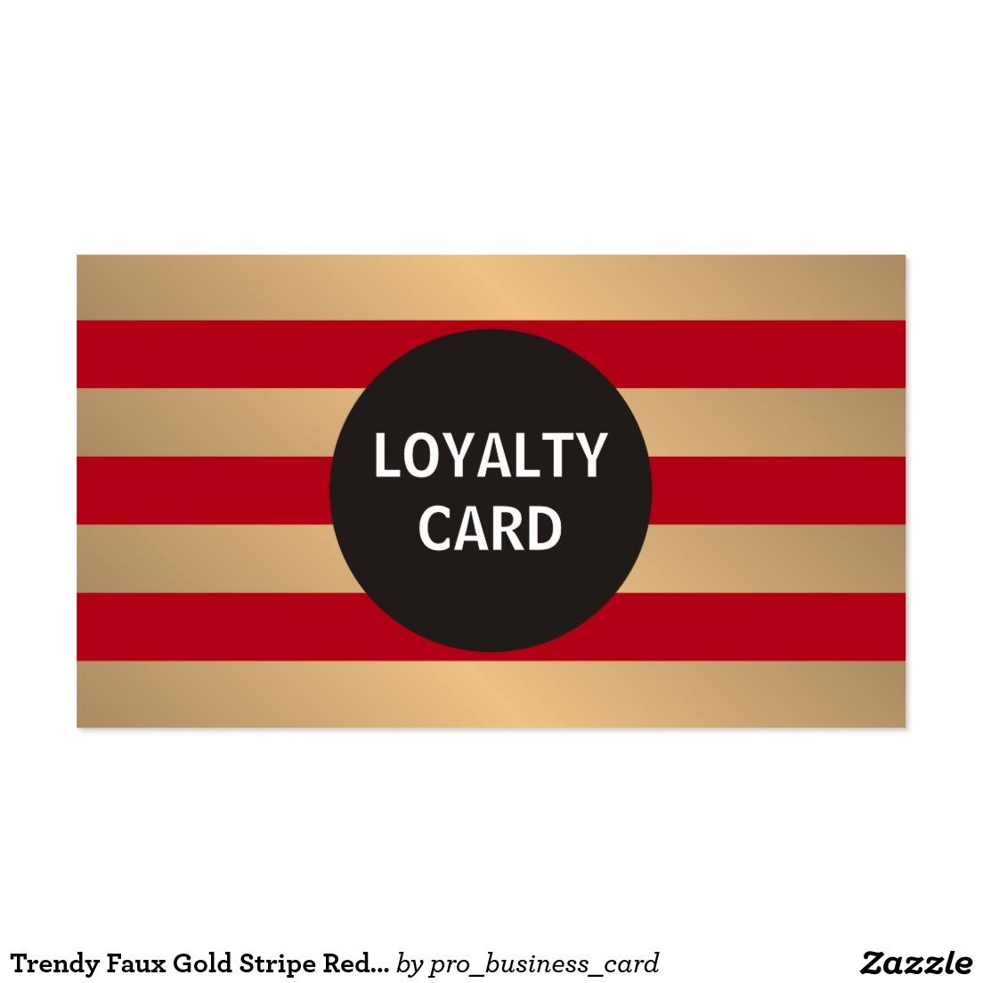 Trendy Faux Gold Stripe Red Loyalty Punch Card | Gold stripes ...
