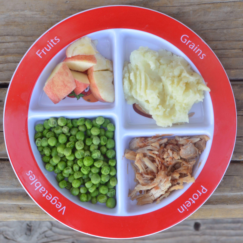 Crockpot pork, mashed potatoes, peas, and apples! myplate