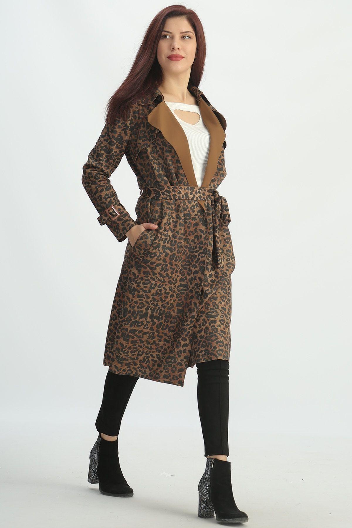 1080b4ca30063 Kadın ve Erkek Giyim Online Alışveriş Sitesi sa. ŞAL YAKA LEOPAR DESENLİ  CEPLİ SÜET BAYAN