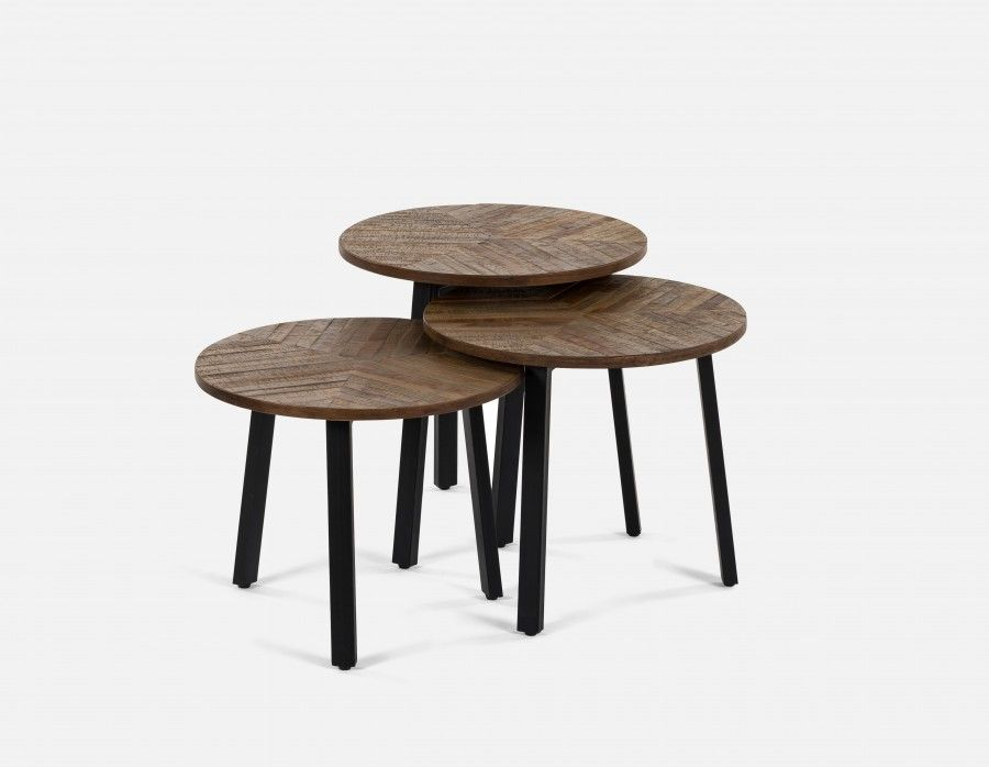 ZAK - Set of 3 tables - Natural (With images) | Wood ...