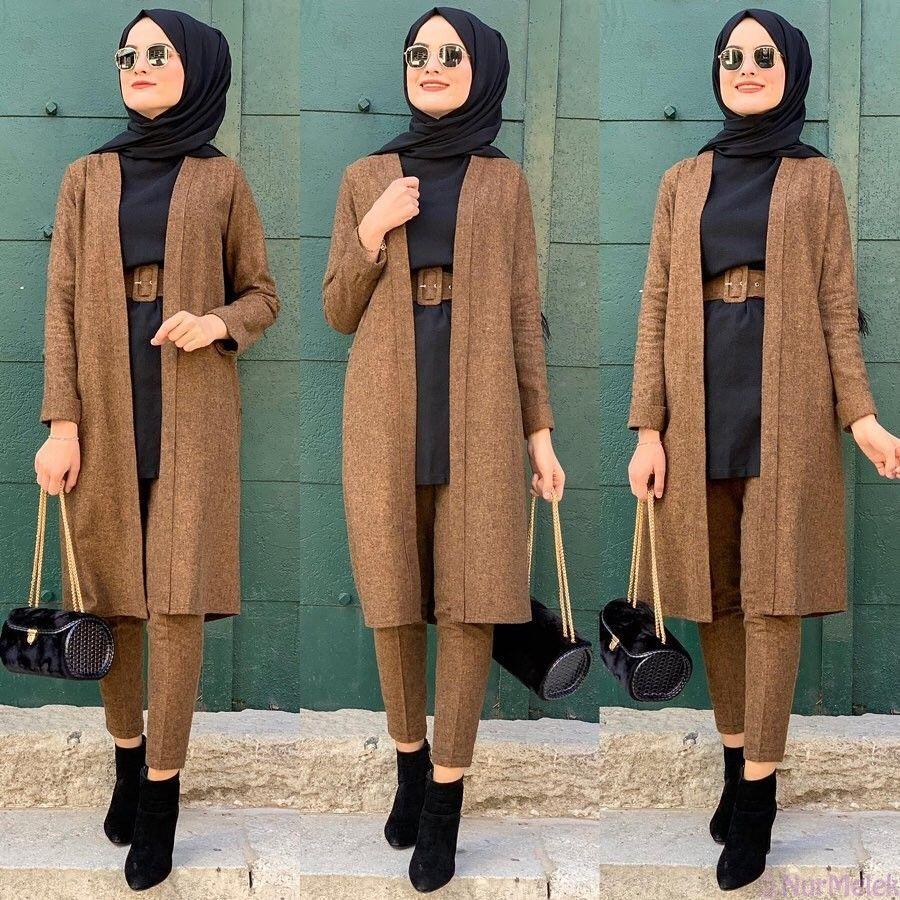 Uclu Tesettur Kombin 2020 Mutevazi Moda Trendler Islami Moda