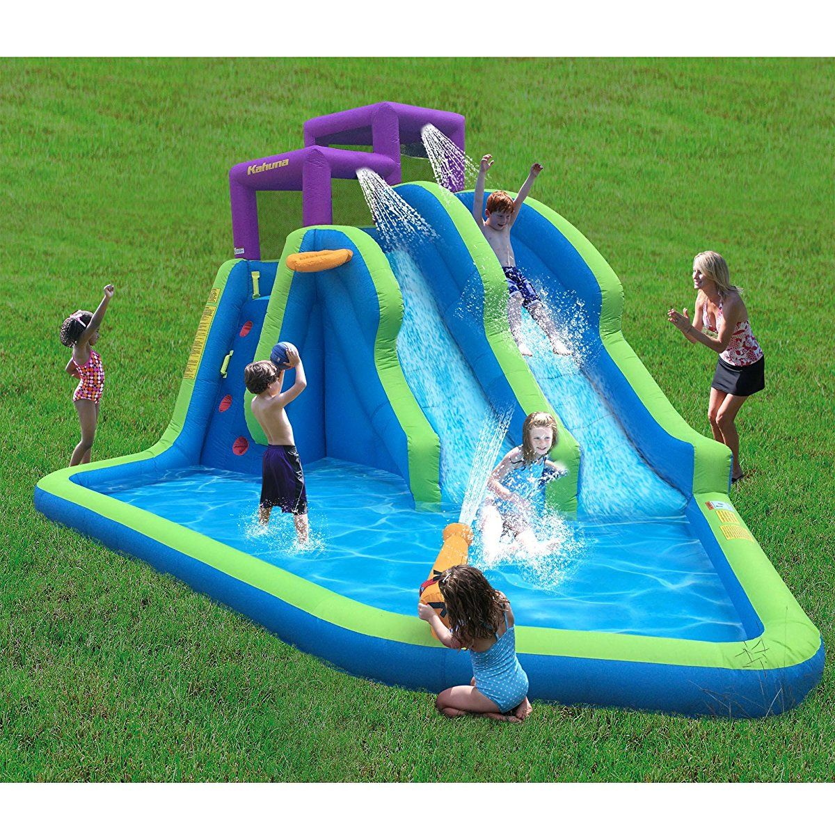 Magic Time Twin Falls Outdoor Inflatable Splash Pool ...