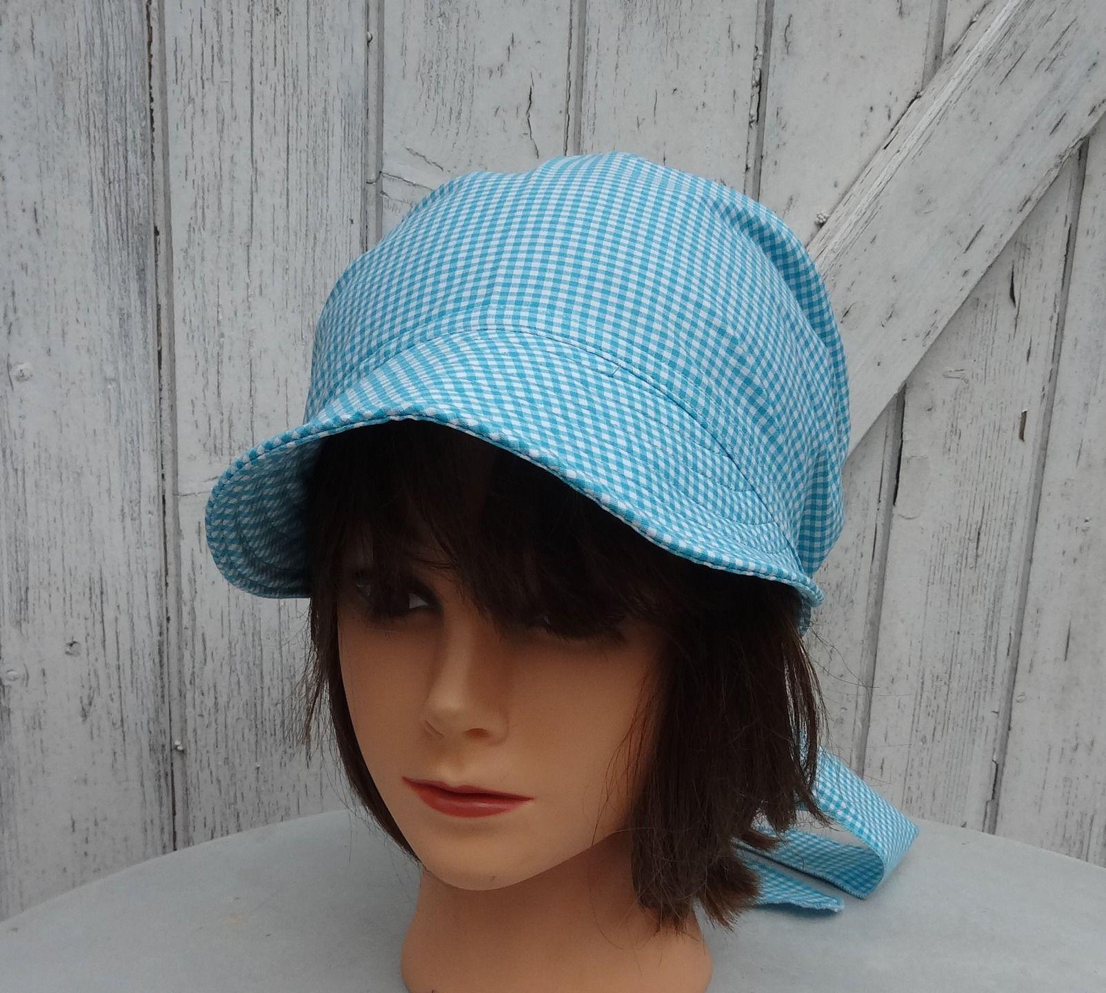 729c2dd181e6 Casquette, bandana avec visière, fichu, foulard préformé en coton vichy  bleu…