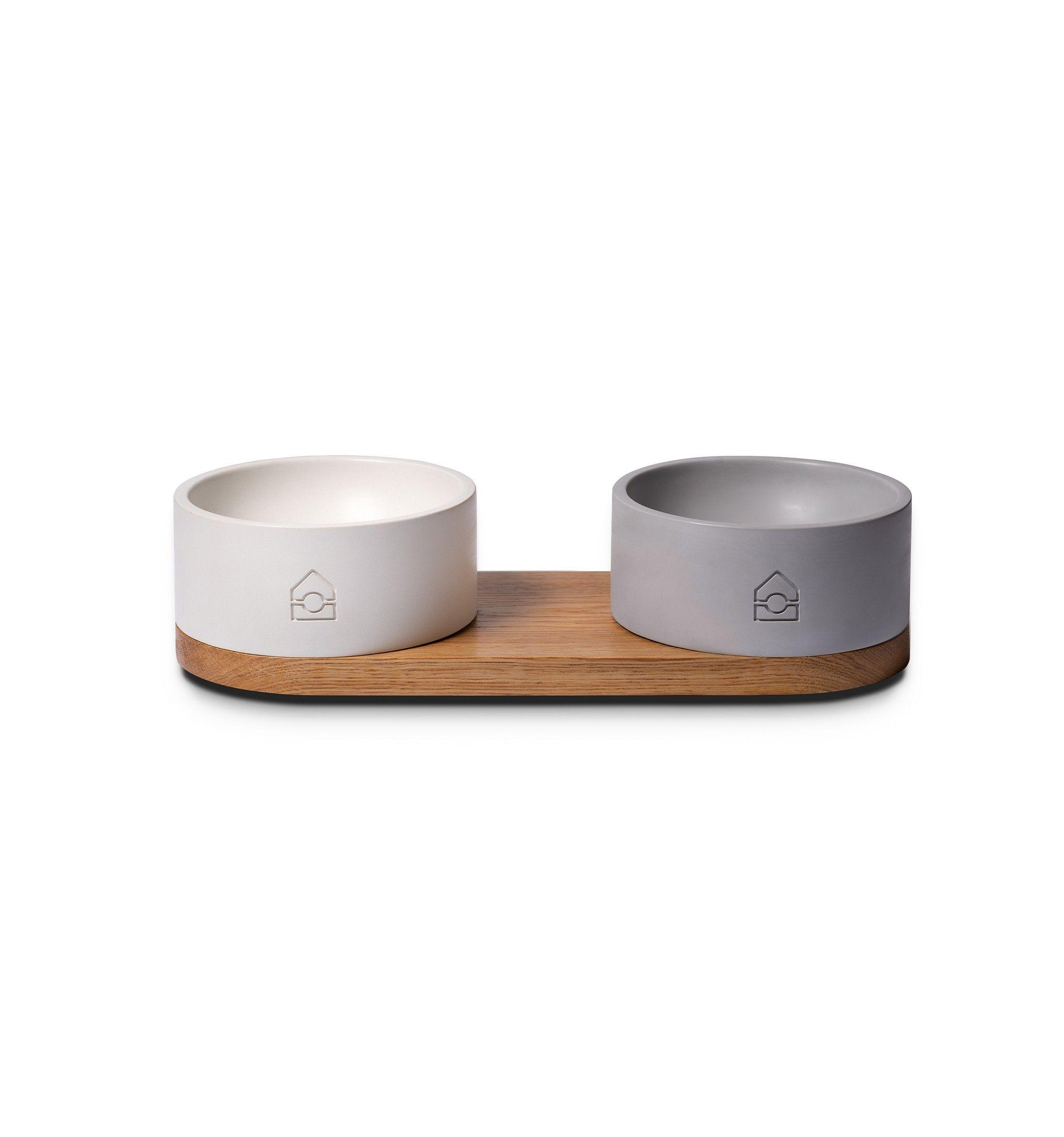 Concrete Dog Bowl White