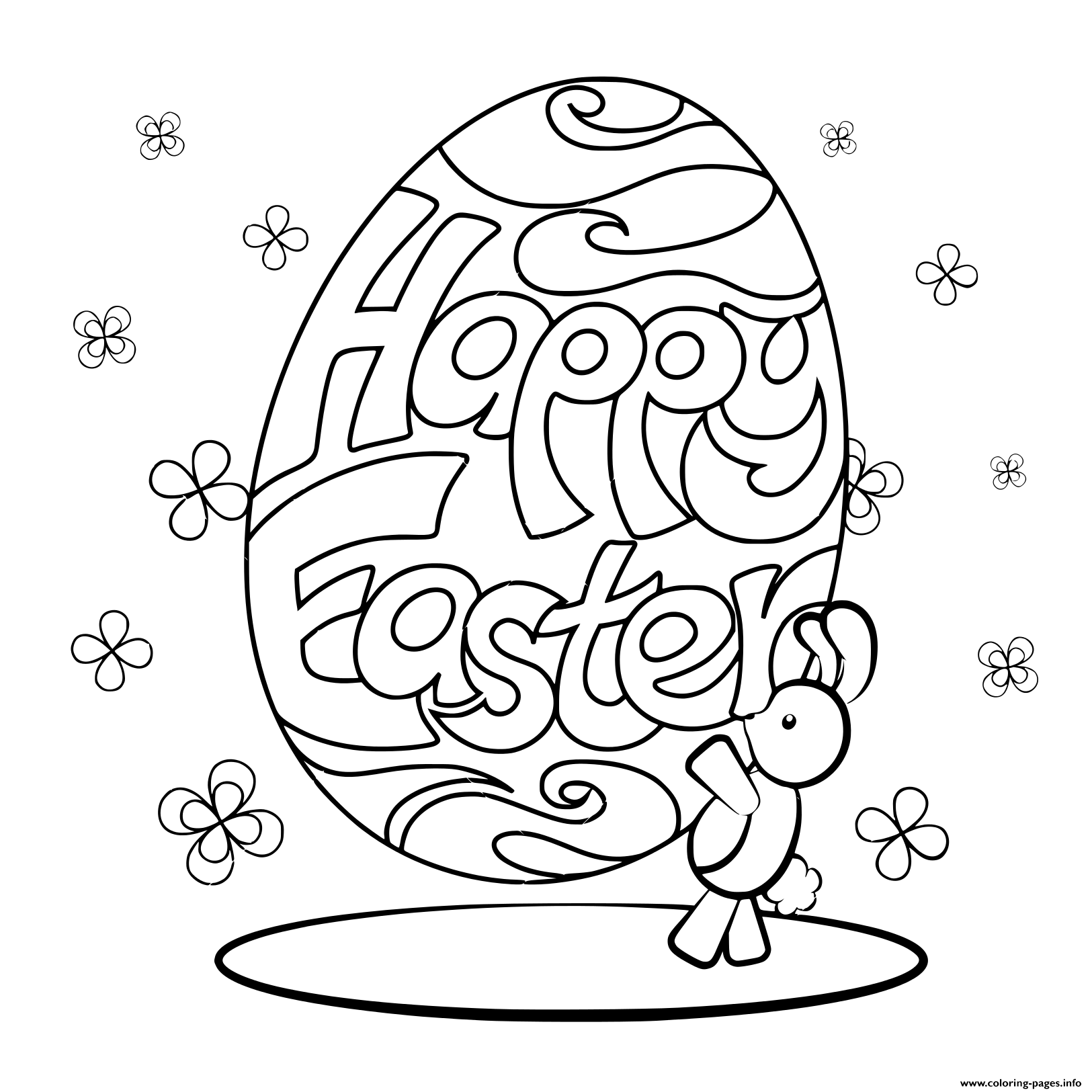 Print happy easter rabbit coloring pages | Easter egg ...