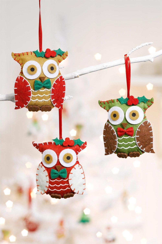 Christmas Felt Owl Decorations Set Of 3 Ezibuy New Zealand Felt Crafts Christmas Felt Christmas Ornaments Felt Ornaments