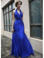 Tulle Halter Neckline Open Back Bodice A-line Prom Dress