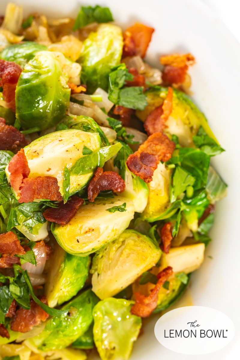 SAUTÉED BACON AND BRUSSELS SPROUTS Properly prepared brussel sprouts that are sauteed with bacon,