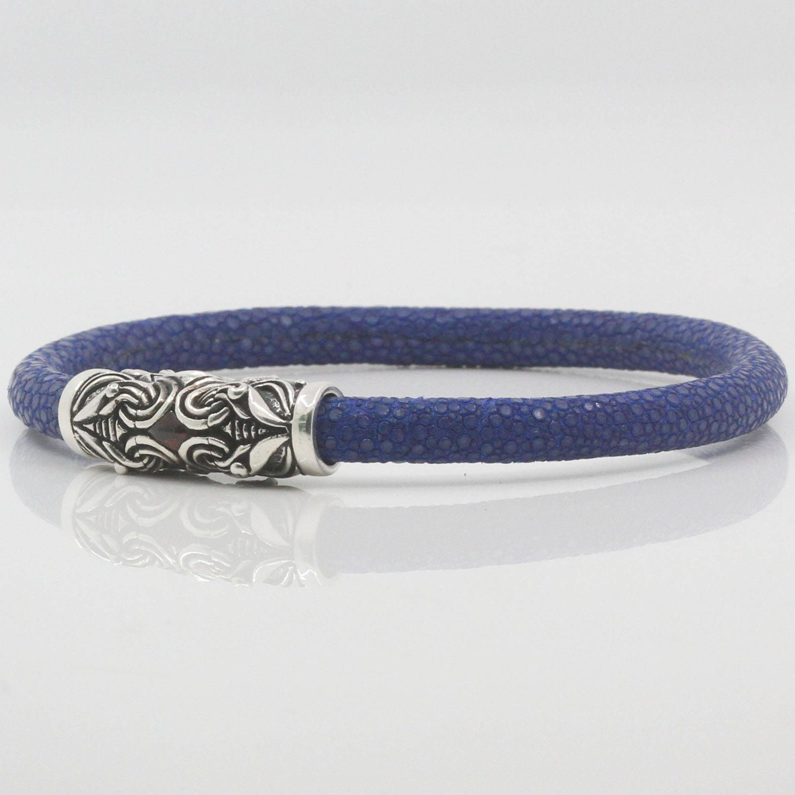 Genuine Stingray Leather Bracelet Sterling Silver 925 Magnetic Clasp Unisex  6mm
