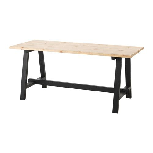 Ikea Sallskap Dining Table Black Pine 170x70 Cm The Clear Lacquered