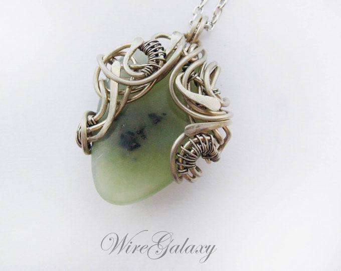 Jade Pendant Gemstone jewelry Wire wrapped pendant Medallion Gift ...