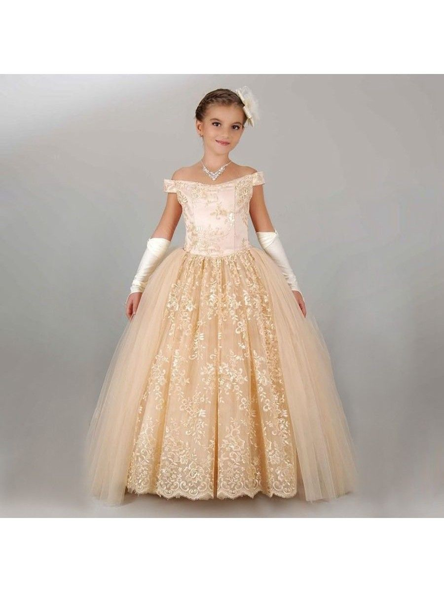 a62f33220623 Lace Tulle Off-the-Shoulder Princess Ball Gown Flower Girl Dresses ...
