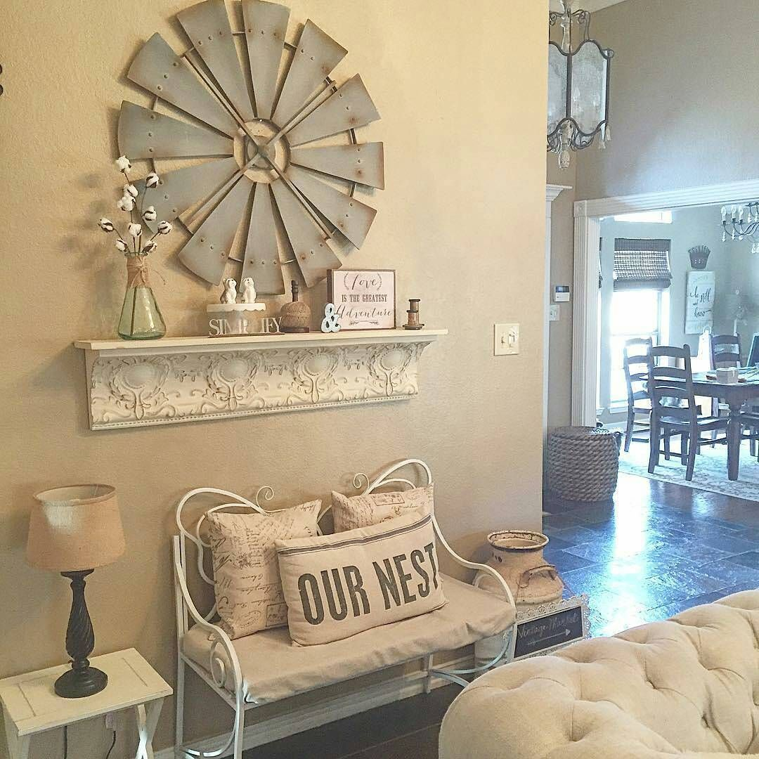 Cindy S Decorating Style Is Just Lovely And Our Antique Farmhouse Windmill Looks Gorgeous On Her Wall Homedecor Decoratingideas