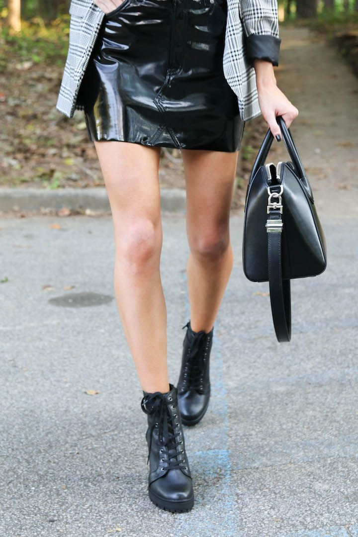 vinyl skirt, steve madden laurie boots