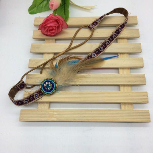 Womens Hippy Long 70s 80s Braided Necklace Belt Boho Headband Feather Band