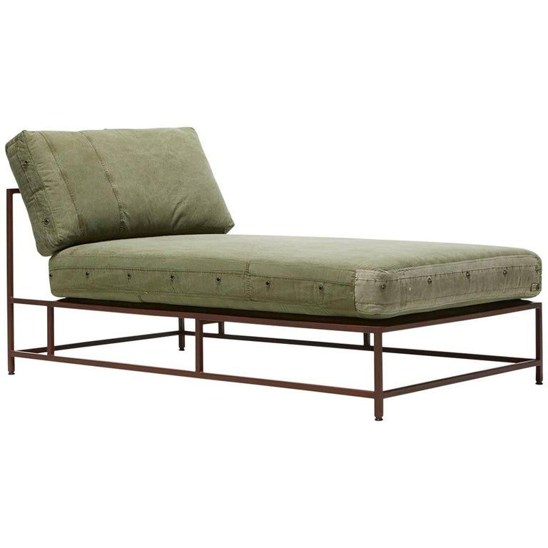 Vintage Military Canvas And Marbled Rust Chaise Longue In 2020 Furniture Chaise Lounge Sofa Chaise Lounge