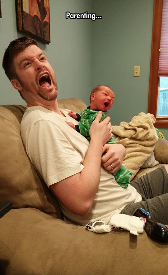 Parenting Is Not Easy Funny Father Baby Screaming Hug Cute Cute