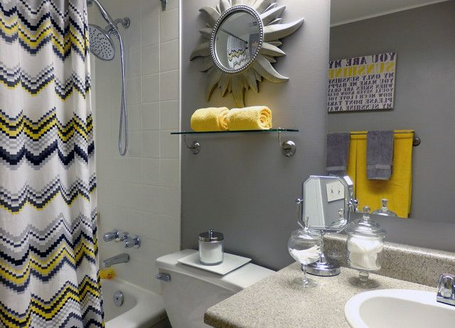 Blue Bathroom Grey White Yellow Google Search Yellow Bathroom Decor Gray Bathroom Decor Yellow Bathrooms
