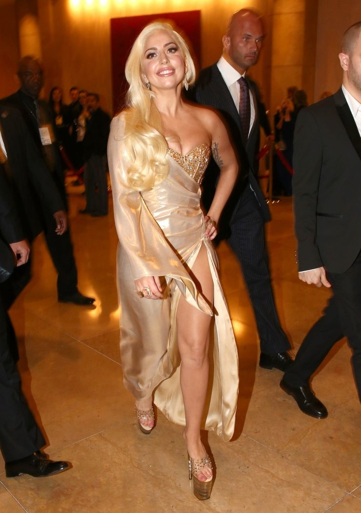 """""""I'm here, now let the party begin."""" Lady Gaga arrives at NBC Universal's Golden Globes post-party on Jan. 12 in Beverly Hills, Calif."""