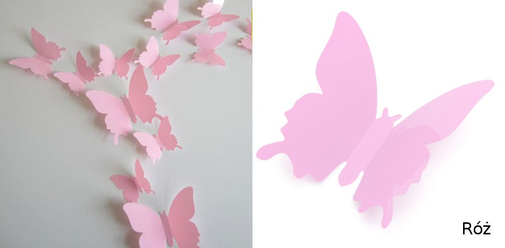 Pcv Motyle 3d Naklejki Na ścianę Montaż Kolory 5541164455