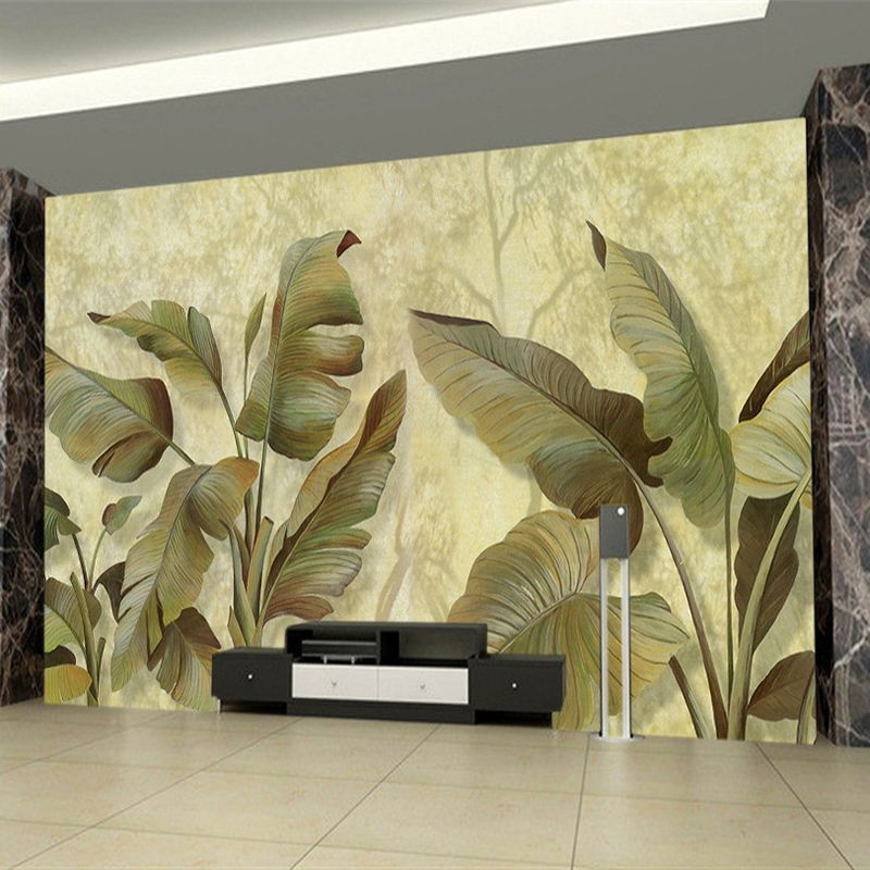 Modern retro banana leaves 3d stereo mural photo wallpaper for 3d dining room wall art