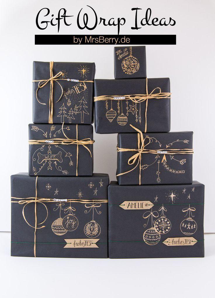 5 tolle Ideen, Geschenke zu verpacken - mit einfachen Materialien wie Kraftpapier, Washi Tape und Gelschreiber.  Mehr gibt's auf MrsBerry.de Geschenke Verpacken Weihnachten, Weihnachtsgeschenke, Geschenke Originell Verpacken, Verpackung Weihnachten, Selbstgemachte Geschenke, Geschenk Deko, Kraftpapier, Verschenken, Adventskalender