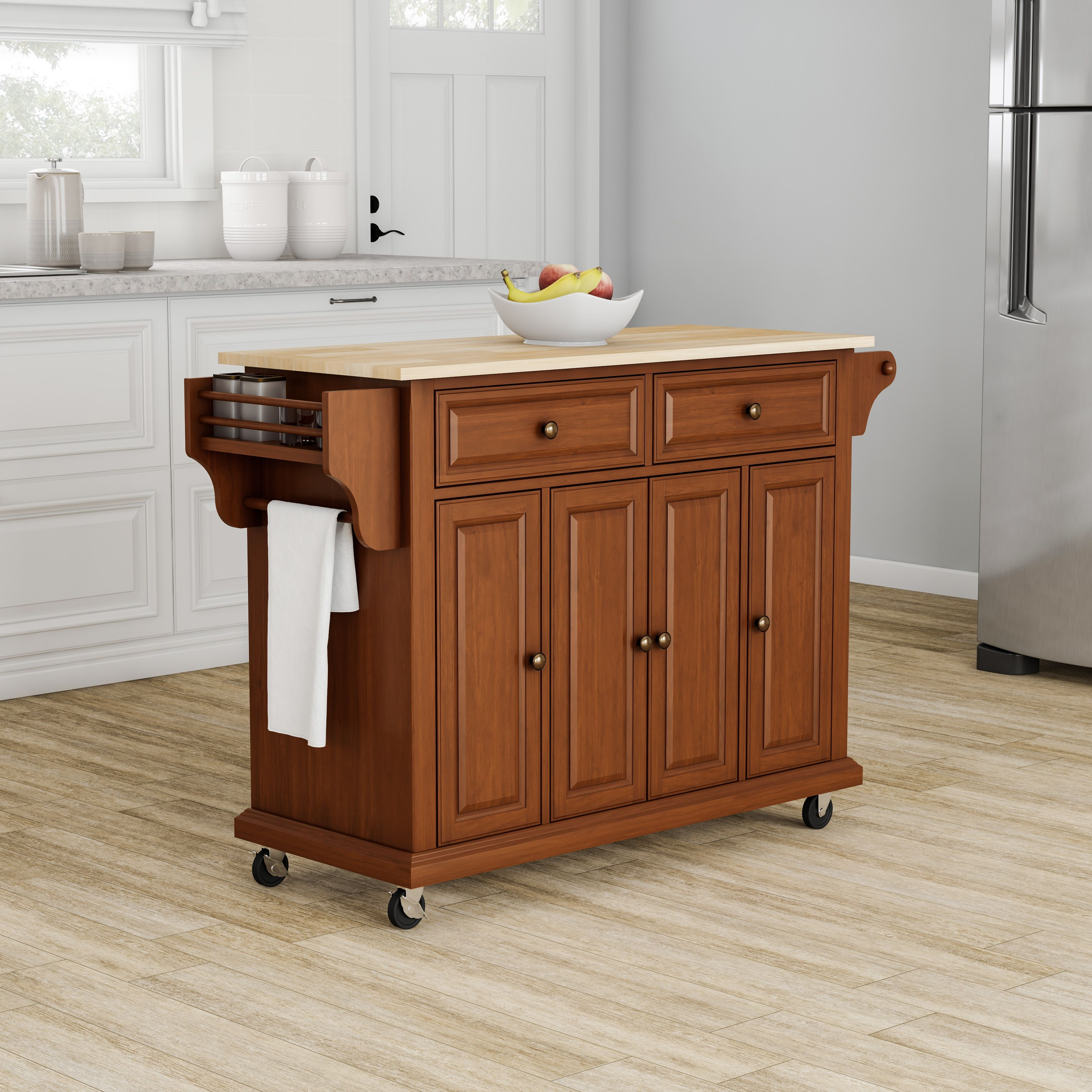 Copper Grove Kanha Natural Wood Top Kitchen Cart Island In