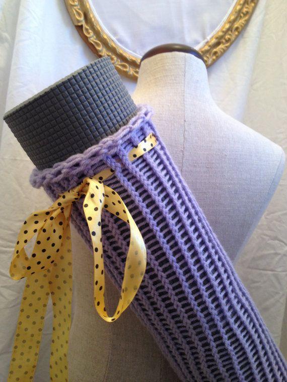 Purple knit yoga bag, beach towel bag | Beach towel bag ...