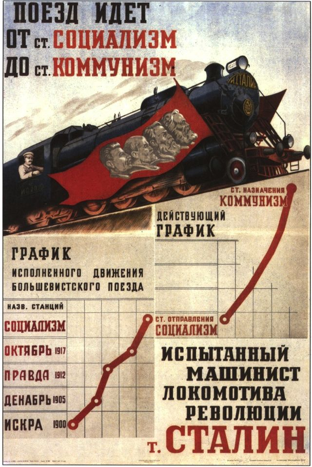 The train from Socialism to communism – and Comrade Stalin drives!