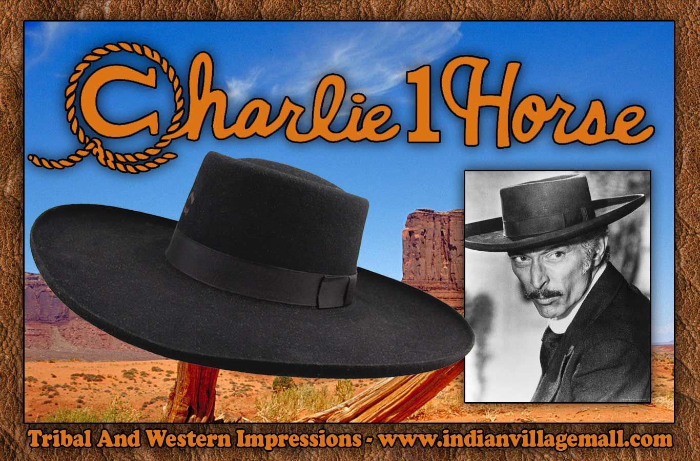 10X Tattoos   Scars Lee Van Cleef Sabata Charlie 1 Horse Western Cowboy Hat  From Tribal And Western Impressions - www.indianvillagemall.com 7130d8311b3