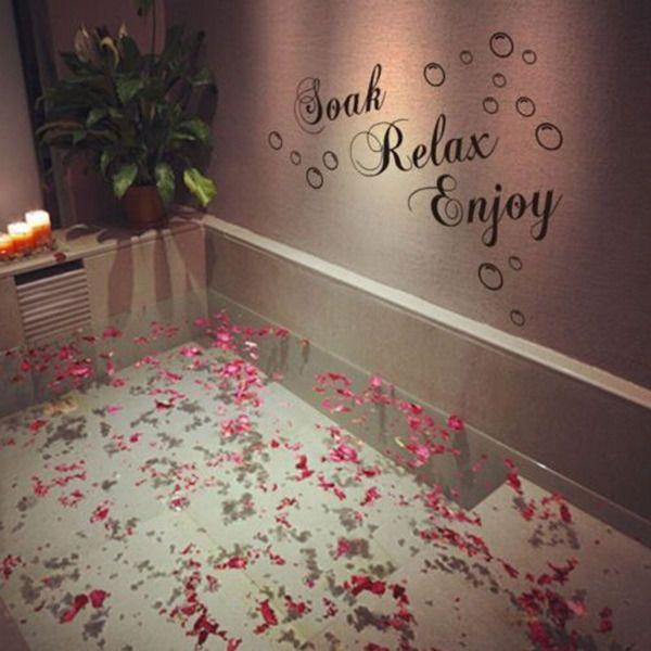 BATHROOM Sticker Decal Soak Relax Enjoy Quote Wall Art Removable DIY