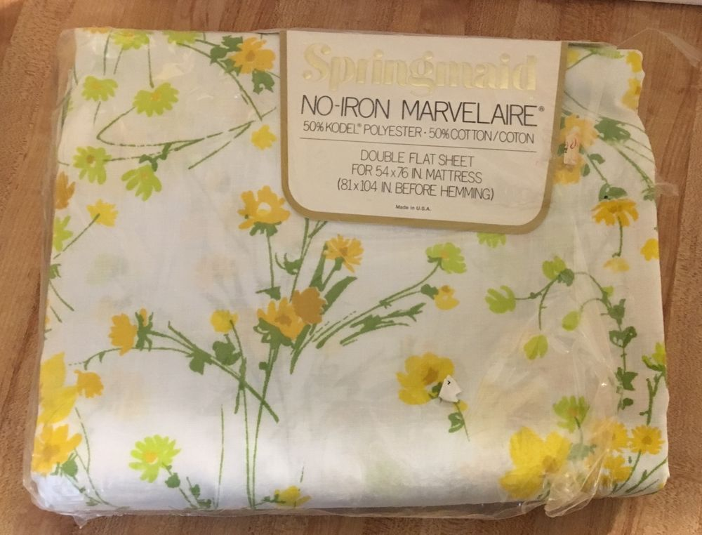 Vintage Old Stock Burlington Flat Sheet Full Double 5050 Cotton Percale Polyester Pink Floral Roses