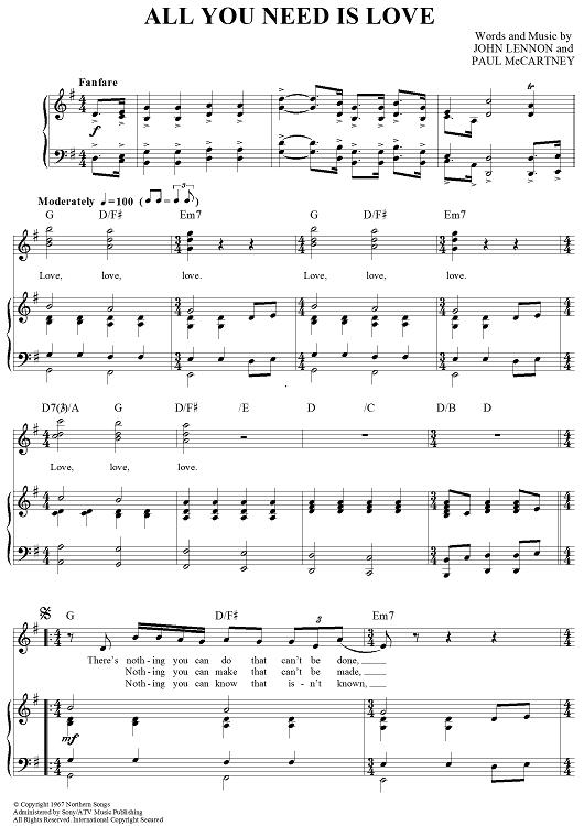 All You Need Is Love Piano Sheet Music Sheet Music Beatles Sheet Music